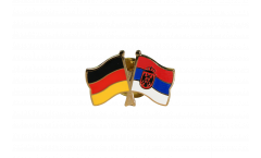 Germany - Serbia with coat of arms Friendship Flag Pin, Badge - 22 mm