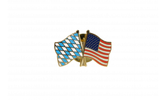 Bavaria - USA Friendship Flag Pin, Badge - 22 mm