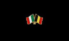 Italy - Belgium Friendship Flag Pin, Badge - 22 mm
