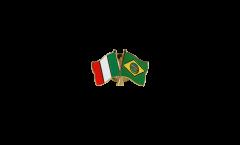 Italy - Brazil Friendship Flag Pin, Badge - 22 mm