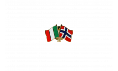 Italy - Norway Friendship Flag Pin, Badge - 22 mm