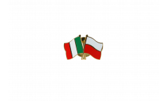Italy - Poland Friendship Flag Pin, Badge - 22 mm