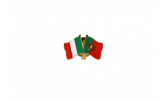 Italy - Portugal Friendship Flag Pin, Badge - 22 mm