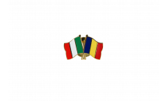 Italy - Rumania Friendship Flag Pin, Badge - 22 mm