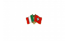 Italy - Switzerland Friendship Flag Pin, Badge - 22 mm