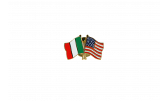 Italy - USA Friendship Flag Pin, Badge - 22 mm