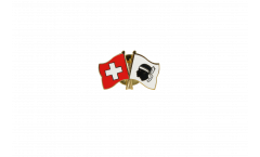 Switzerland - France Corsica Friendship Flag Pin, Badge - 22 mm