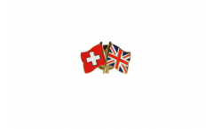 Switzerland - Great Britain Friendship Flag Pin, Badge - 22 mm
