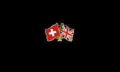 Switzerland - Great Britain Friendship Flag Pin, Badge - 22 mm