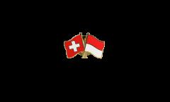 Switzerland - Indonesia Friendship Flag Pin, Badge - 22 mm