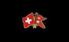 Switzerland - Nepal Friendship Flag Pin, Badge - 22 mm