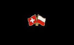 Switzerland - Poland Friendship Flag Pin, Badge - 22 mm