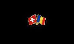 Switzerland - Rumania Friendship Flag Pin, Badge - 22 mm