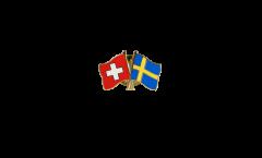 Switzerland - Sweden Friendship Flag Pin, Badge - 22 mm