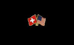 Switzerland - USA Friendship Flag Pin, Badge - 22 mm