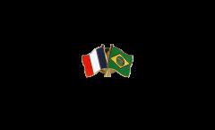France - Brazil Friendship Flag Pin, Badge - 22 mm