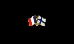 France - Finland Friendship Flag Pin, Badge - 22 mm