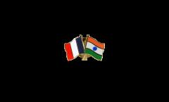 France - India Friendship Flag Pin, Badge - 22 mm