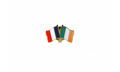 France - Ireland Friendship Flag Pin, Badge - 22 mm