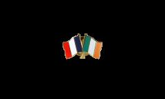 France - Ireland Friendship Flag Pin, Badge - 22 mm