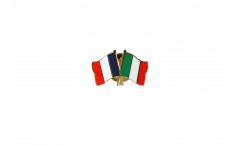 France - Italy Friendship Flag Pin, Badge - 22 mm