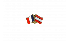 France - Latvia Friendship Flag Pin, Badge - 22 mm