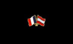 France - Latvia Friendship Flag Pin, Badge - 22 mm