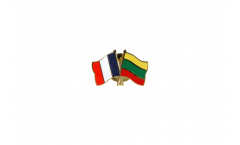 France - Lithuania Friendship Flag Pin, Badge - 22 mm