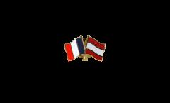 France - Austria Friendship Flag Pin, Badge - 22 mm