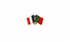 France - Portugal Friendship Flag Pin, Badge - 22 mm