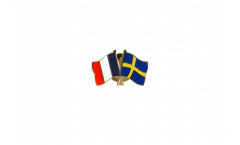 France - Sweden Friendship Flag Pin, Badge - 22 mm