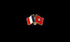 France - Switzerland Friendship Flag Pin, Badge - 22 mm