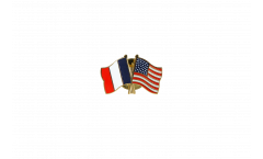 France - USA Friendship Flag Pin, Badge - 22 mm