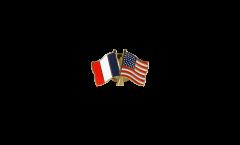 France - USA Friendship Flag Pin, Badge - 22 mm