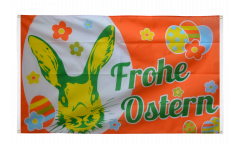 Frohe Ostern orange Easter Bunny Flag for balcony - 3 x 5 ft.
