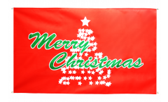 Merry Christmas Christmas tree red Flag for balcony - 3 x 5 ft.
