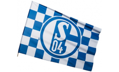 FC Schalke 04 Karo Hand Waving Flag - 2 x 3 ft. / 60 x 90 cm