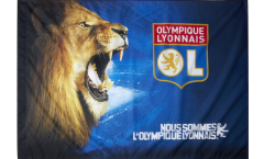 Olympique Lyon Roaring Lion Flag - 3.3 x 4.5 ft. / 100 x 140 cm