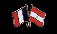 France - Lebanon Friendship Flag Pin, Badge - 22 mm