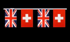 Great Britain - Switzerland Friendship Bunting Flags - 5.9 x 8.65 inch
