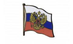 Russia with coat of arms Flag Pin, Badge - 1 x 1 inch
