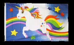 Unicorn blue with rainbow Flag - 3 x 5 ft. / 90 x 150 cm