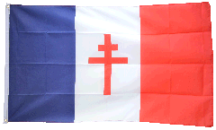 France with Cross of Lorraine Flag - 3 x 5 ft. / 90 x 150 cm