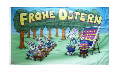 Frohe Ostern Easter Rabbit School Flag