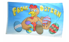 Happy Easter eggs and chicken Flag
