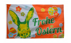 Frohe Ostern orange Easter Bunny Flag