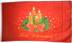 Frohe Weihnachten with Advent wreath Flag - 3 x 5 ft. / 90 x 150 cm