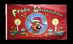 Frohe Weihnachten Reindeer Flag - 3 x 5 ft. / 90 x 150 cm