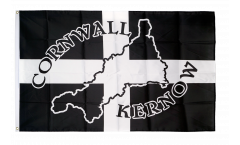 Great Britain Cornwall Kernow Silhouette Flag - 3 x 5 ft. / 90 x 150 cm