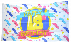 Happy Birthday 18 Flag - 3 x 5 ft.